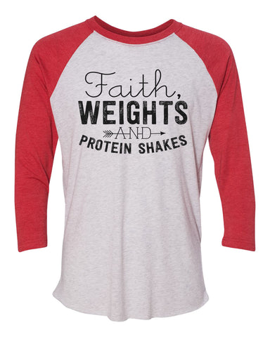 "Unisex Christmas Soft Tri-Blend Baseball T-Shirt ""Faith, Weights And Protein Shakes"" Rb Clothing Co"