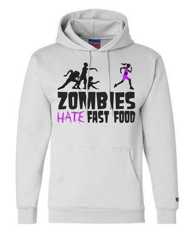 "Unisex Champion Hoodie ""Zombies Hate Fast Food"" RB Clothing Co"