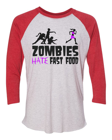 "Unisex Christmas Soft Tri-Blend Baseball T-Shirt ""Zombies Hate Fast Food"" Rb Clothing Co"