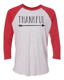 "Unisex Christmas Soft Tri-Blend Baseball T-Shirt ""Thankful Arrow"" Rb Clothing Co"