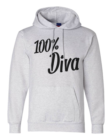 "Unisex Champion Hoodie ""100% Diva"" RB Clothing Co"