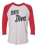 "Unisex Christmas Soft Tri-Blend Baseball T-Shirt ""100% Diva"" Rb Clothing Co"