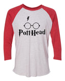 "Unisex Christmas Soft Tri-Blend Baseball T-Shirt ""Pott Head"" Rb Clothing Co"