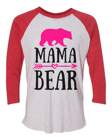 "Unisex Christmas Soft Tri-Blend Baseball T-Shirt ""Mama Bear"" Rb Clothing Co"