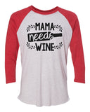 "Unisex Christmas Soft Tri-Blend Baseball T-Shirt ""Mama Needs Wine"" Rb Clothing Co"