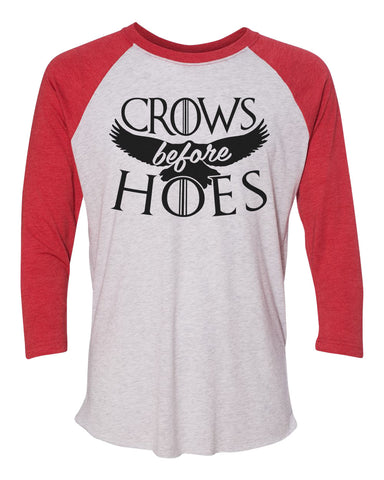 "Unisex Christmas Soft Tri-Blend Baseball T-Shirt ""Crows Before Hoes"" Rb Clothing Co"