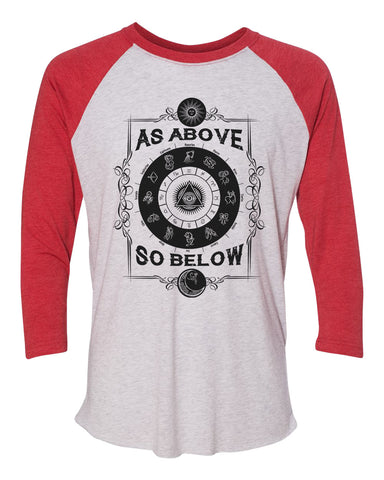 "Unisex Christmas Soft Tri-Blend Baseball T-Shirt ""As Above So Below"" Rb Clothing Co"