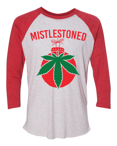 "Unisex Christmas Soft Tri-Blend Baseball T-Shirt ""Mistlestoned"" Rb Clothing Co"
