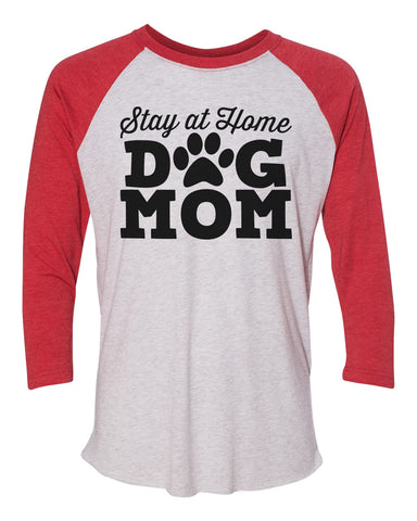 "Unisex Christmas Soft Tri-Blend Baseball T-Shirt ""Stay At Home Dog Mom"" Rb Clothing Co"