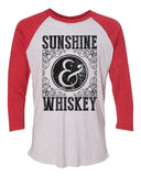 "Unisex Christmas Soft Tri-Blend Baseball T-Shirt ""Sunshine & Whiskey"" Rb Clothing Co"