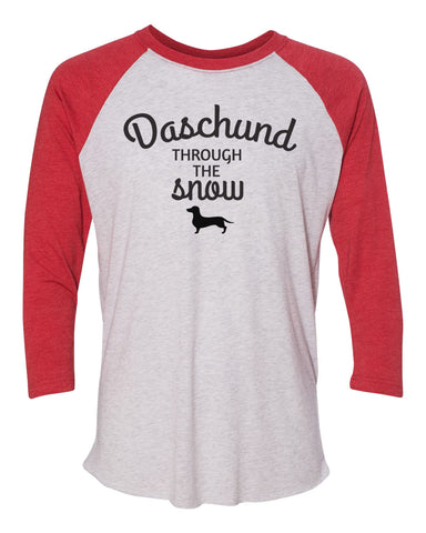 "Unisex Christmas Soft Tri-Blend Baseball T-Shirt ""Daschund Through The Snow"" Rb Clothing Co"