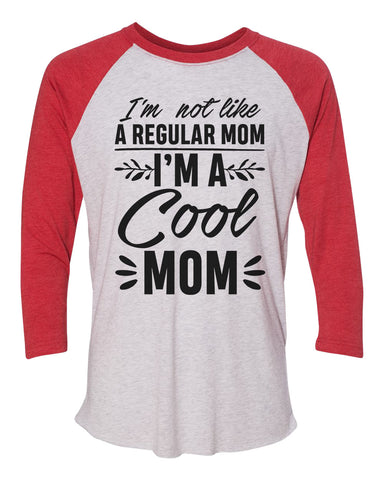 "Unisex Christmas Soft Tri-Blend Baseball T-Shirt ""I'm Not Like A Regular Mom I'm A Cool Mom"" Rb Clothing Co"