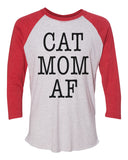 "Unisex Christmas Soft Tri-Blend Baseball T-Shirt ""Cat Mom AF"" Rb Clothing Co"