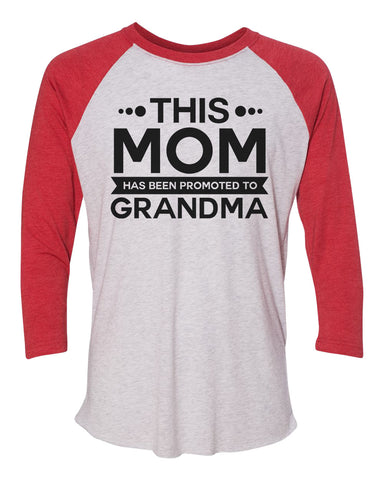 "Unisex Christmas Soft Tri-Blend Baseball T-Shirt ""This Mom Has Been Promoted To Grandma"" Rb Clothing Co"
