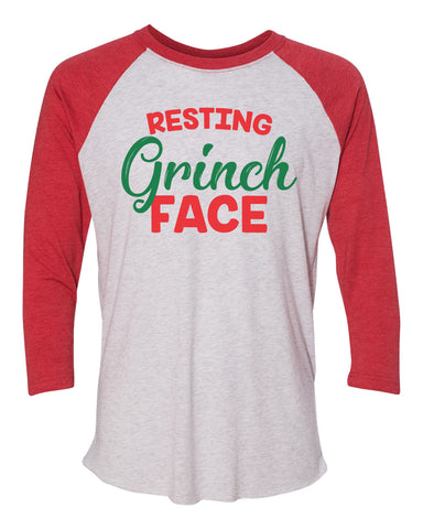 "Unisex Christmas Soft Tri-Blend Baseball T-Shirt ""Resting Grinch Face""  RB Clothing Co"