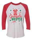 "Unisex Christmas Soft Tri-Blend Baseball T-Shirt ""Gangsta Wrapper"" Rb Clothing Co"