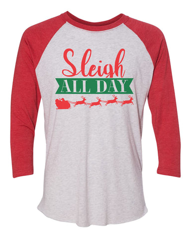 "Unisex Christmas Soft Tri-Blend Baseball T-Shirt ""Sleigh All Day"" Rb Clothing Co"