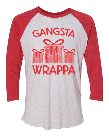 "Unisex Christmas Soft Tri-Blend Baseball T-Shirt ""Gangsta Wrappa"" Rb Clothing Co"
