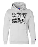 "Unisex Champion Hoodie ""Hair On This Shirt Provided By My German Shepherd"" RB Clothing Co"