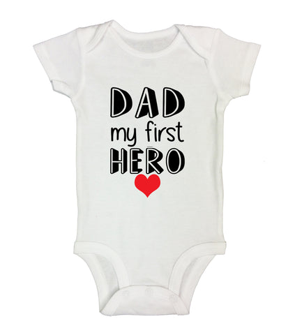 "Cute Superhero Inspired Baby Bodysuit ""Dad My First Hero"" RB Clothing Co"