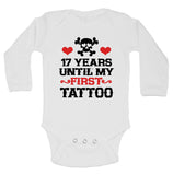 "Cute First Birthday Baby Bodysuit ""17 Years Until My First Tattoo"" RB Clothing Co"