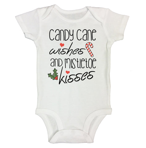 "Cute Holiday Baby Bodysuit ""Candy Cane Wishes and Mistletoe Kisses"" RB Clothing Co"