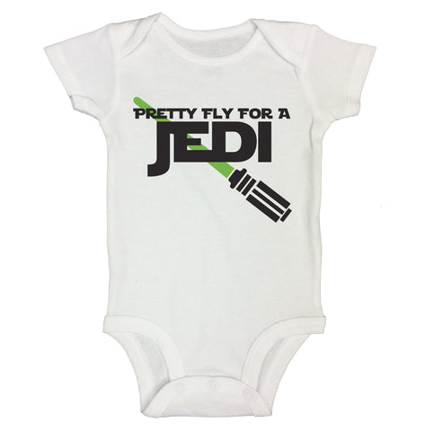 "Cute Star Wars Inspired Baby Bodysuit ""Pretty Fly for Jedi"" RB Clothing Co"