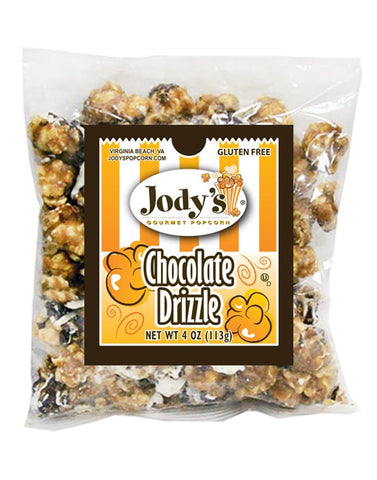 Chocolate Drizzle 4 oz Small Bag | 24 Bags/Case - Jodys Wholesale Popcorn - 1