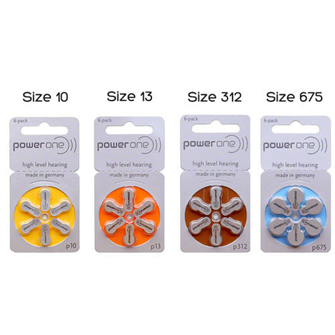 Power One Hearing Aid Batteries - Pack of Six