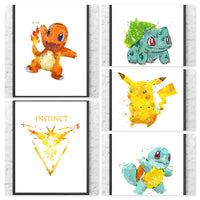 Pokemon Go Team Instinct Gift Set Digital Watercolour Posters