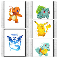 Pokemon Go Team Mystic Gift Set Digital Watercolour Posters