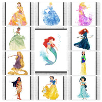 Disney Princess Gift Set Digital Watercolour Posters