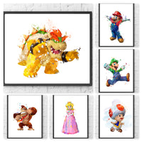 Nintendo Super Mario Gift Set Digital Watercolour Posters