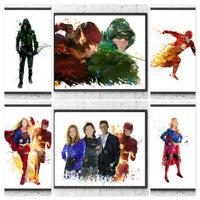 Arrowverse Arrow / Flash / Supergirl Gift Set Digital Watercolour Posters