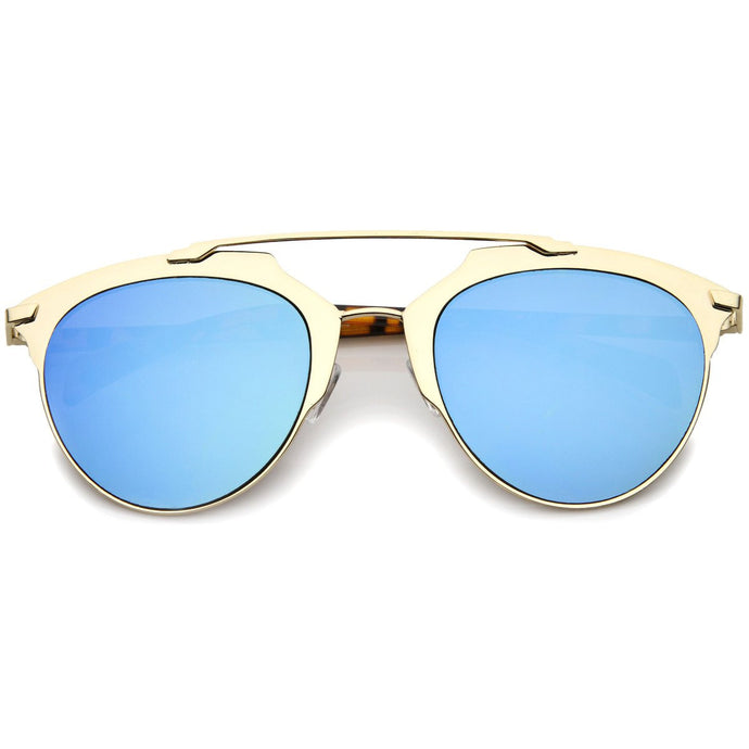 DAPMOD DOUBLE-BROW BAR MIRRORED SUNGLASSES SQR033