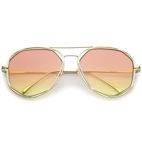 DAPMOD DOUBLE METAL AVIATOR SUNGLASSES SQR073