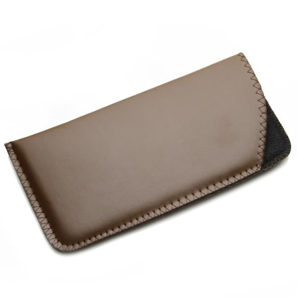 BROWN SOFT LEATHER GLASSES PROTECTOR CASE