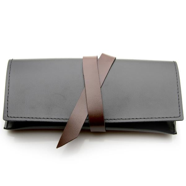 STYLISH BLACK X BROWN LEATHER GLASSES CASE