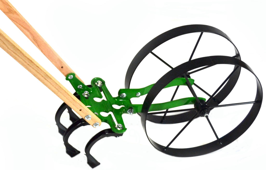 Double Wheel Garden Cultivator with Standard Handles