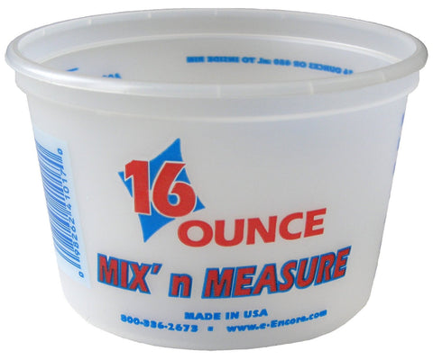 Encore Plastics 41017 Mix 'N Measure Plastic Container, 1-Pint