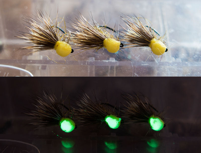 Glow in the dark dry fly