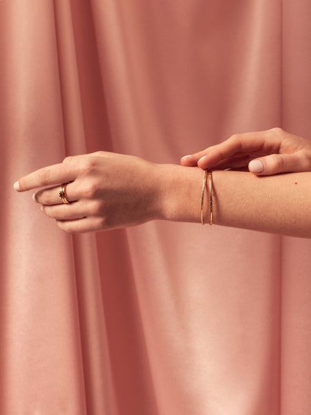 solid 14k gold fine jewelry minimal modern cuff bracelets layering stacking pink satin