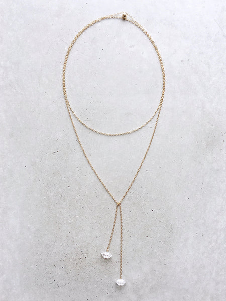 herkimer diamond long gold bolo lariat necklace layering chain minimal jewelry