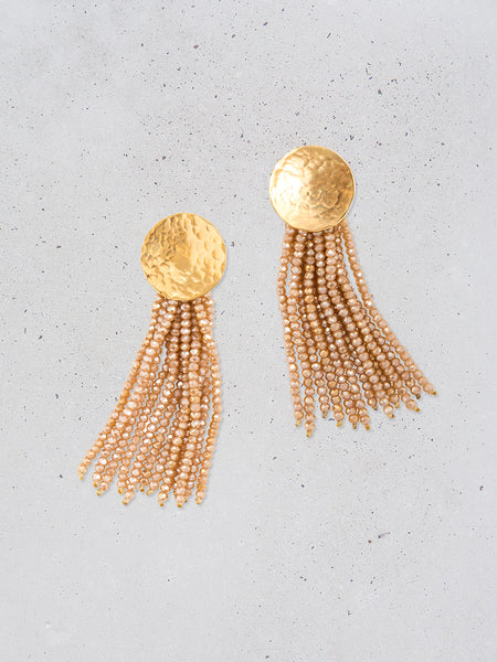 Full Moon Beaded Tassel Earrings