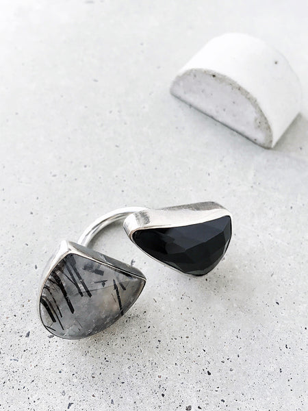 large double stone geometric abstract modern statement ring onyx rutilated quartz between the finger black white gray concrete handmade metalwork jewelry dianna gendron soft gold co