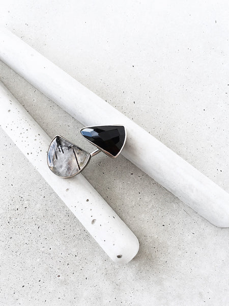 large double stone statement ring onyx rutilated quartz between the finger black white gray concrete handmade metalwork jewelry dianna gendron soft gold co