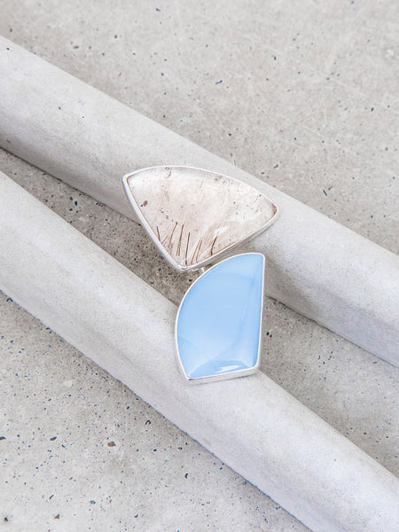 Blue Opal + Rutilated Quartz Double Statement Ring / OOAK