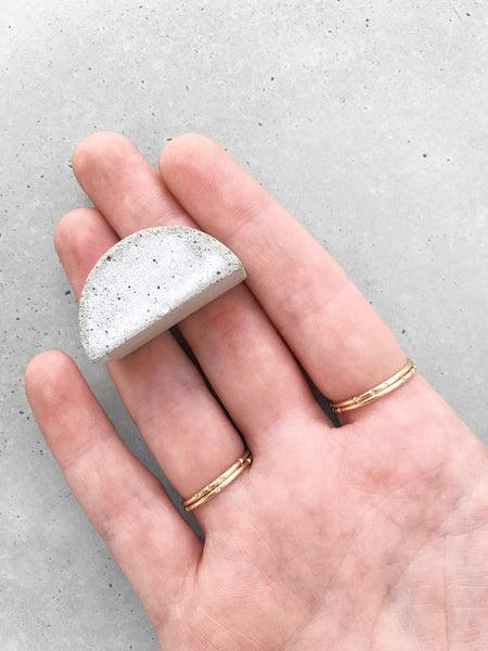 skinny stacking ring set gold concrete cement arch on fingers softgoldco