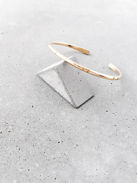 carved line gold cuff bracelet concrete triangle softgoldco staple jewelry