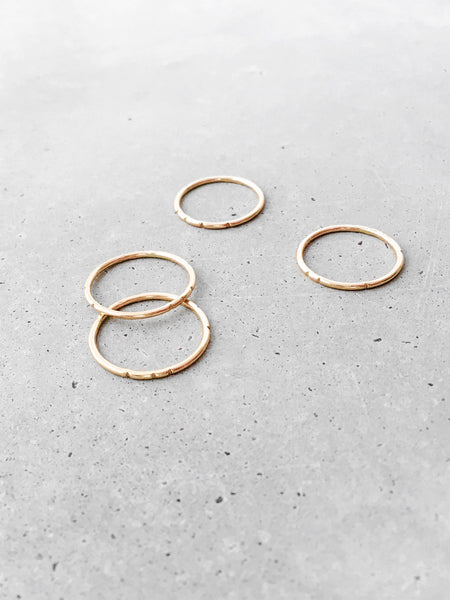 softgoldco carved tribal gold stacking skinny rings